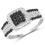 0.30 Carat Genuine Black Diamond and White Diamond .925 Sterling Silver Ring