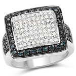 0.64 Carat Genuine White Diamond and Blue Diamond .925 Sterling Silver Ring