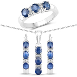 4.08 Carat Genuine Blue Sapphire .925 Sterling Silver 3 Piece Jewelry Set (Ring, Earrings, and Pendant w/ Chain)