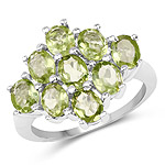 3.15 Carat Genuine Peridot .925 Sterling Silver Ring