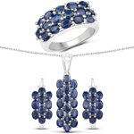 10.40 Carat Genuine Blue Sapphire .925 Sterling Silver 3 Piece Jewelry Set (Ring, Earrings, and Pendant w/ Chain)
