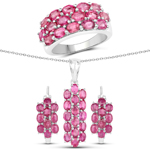 11.44 Carat Genuine Ruby .925 Sterling Silver 3 Piece Jewelry Set (Ring, Earrings, and Pendant w/ Chain)