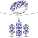 """8.84 Carat Genuine Tanzanite .925 Sterling Silver 3 Piece Jewelry Set (Ring, Earrings, and Pendant w/ Chain)"""