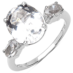 3.50 Carat Genuine Crystal Quartz Sterling Silver Ring