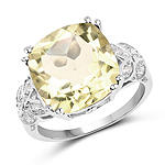 5.72 Carat Genuine Lemon Quartz and White Topaz .925 Sterling Silver Ring