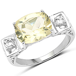 2.89 Carat Genuine Lemon Quartz and White Topaz .925 Sterling Silver Ring