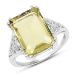 6.68 Carat Genuine Lemon Quartz and White Topaz .925 Sterling Silver Ring