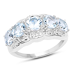 14K White Gold Plated 1.90 Carat Genuine Aquamarine Sterling Silver Ring