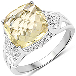 3.45 Carat Genuine Lemon Quartz and White Topaz .925 Sterling Silver Ring