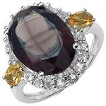 5.44 Carat Smoky Quartz Ring with 1.26 ct. t.w. Multi-Gems in Sterling Silver