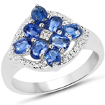 2.17 Carat Genuine Kyanite & White Diamond .925 Sterling Silver Ring