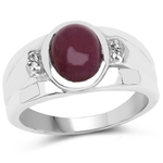 2.74 Carat Genuine Ruby and White Topaz Brass Ring