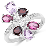 3.17 Carat Genuine Multi Stone .925 Sterling Silver Ring