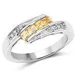 0.43 Carat Genuine Citrine and White Topaz .925 Sterling Silver Ring