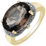 14K Gold Plated 5.24 ct. t.w. Smoky Topaz and White Topaz Ring in Brass