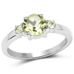 1.23 Carat Genuine Peridot .925 Sterling Silver Ring
