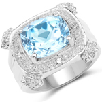 4.90 Carat Genuine Blue Topaz and White Topaz Brass Ring