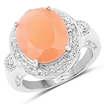 8.09 Carat Genuine Peach Moonstone and White Topaz .925 Sterling Silver Ring