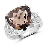 6.95 Carat Genuine Smoky Topaz & White Topaz .925 Sterling Silver Ring