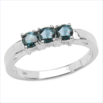 0.54 Carat Genuine Blue Diamond 14K White Gold Ring