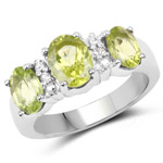 2.90 Carat Genuine Peridot and White Topaz .925 Sterling Silver Ring
