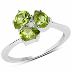 1.22 Carat Genuine Peridot and White Diamond .925 Sterling Silver Ring