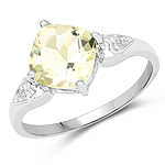 1.81 Carat Genuine Lemon Quartz and White Topaz .925 Sterling Silver Ring