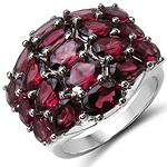 8.45 Carat Genuine Rhodolite .925 Sterling Silver Ring