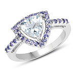 1.41 Carat Genuine Aquamarine & Tanzanite .925 Sterling Silver Ring