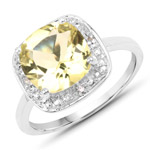 3.02 Carat Genuine Lemon Quartz and White Topaz .925 Sterling Silver Ring