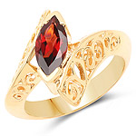 14K Yellow Gold Plated 1.20 Carat Genuine Garnet .925 Sterling Silver Ring
