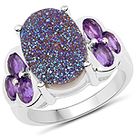 5.56 Carat Genuine Drusy Quartz and Amethyst .925 Sterling Silver Ring