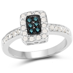 0.36 Carat Genuine Blue Diamond and White Diamond .925 Sterling Silver Ring