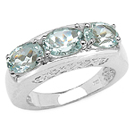 2.25 Carat Genuine Aquamarine Sterling Silver Ring