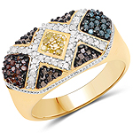 14K Yellow Gold Plated 0.61 Carat Genuine Multi Diamond .925 Sterling Silver Ring
