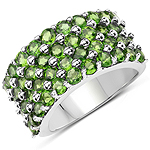 3.08 Carat Genuine Chrome Diopside .925 Sterling Silver Ring