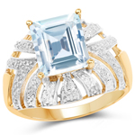 14K Yellow Gold Plated 3.00 Carat Genuine Aquamarine .925 Sterling Silver Ring