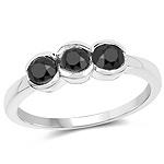 1.16 Carat Genuine Black Diamond .925 Sterling Silver Ring