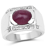 4.44 Carat Genuine Ruby and White Topaz Brass Ring