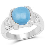 3.07 Carat Genuine Turquoise and White Sapphire .925 Sterling Silver Ring
