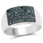 0.48 Carat Genuine Blue Diamond .925 Sterling Silver Ring