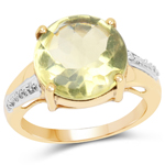 14K Yellow Gold Plated 9.26 Carat Genuine Lemon Topaz Buff Top and White Diamond Brass Ring