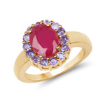 14K Yellow Gold Plated 2.79 Carat Glass Filled Ruby and Tanzanite .925 Sterling Silver Ring