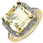 14K Gold Plated 6.96 ct. t.w. Lemon Topaz and White Topaz Ring in Brass
