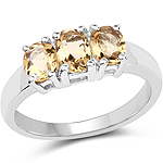 1.07 Carat Genuine Champagne Quartz .925 Sterling Silver Ring
