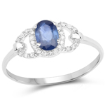 0.60 Carat Genuine Blue Sapphire and White Diamond 10K White Gold Ring