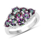 3.15 Carat Genuine Mystic Topaz .925 Sterling Silver Ring