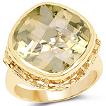 14K Yellow Gold Plated 8.78 Carat Genuine Lemon Topaz Brass Ring