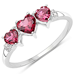 1.08 Carat Genuine Pink Tourmaline and White Diamond 10K White Gold Ring