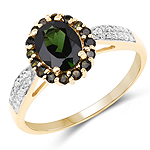 1.76 Carat Genuine Green Tourmaline & White Diamond 10K Yellow Gold Ring